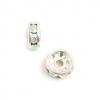 Rhinestone Rondelle (Flat Round) 5mm Silver/Crystal Aurora Borealis